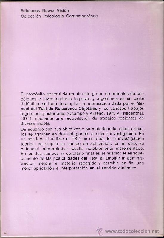 Libros de segunda mano: El test de Relaciones Objetales. H. Phillipson. Actualización. Ediciones primera Visión. 1976. 1ª ed - Foto 2 - 26367506