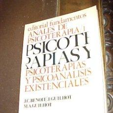 Libros de segunda mano: ANALES DE PSICOTERAPIA 1. PSICOTERAPIAS Y PSICOANALISIS EXISTENCIALES. J.C. BENOIT. J.GUILHO ...*. Lote 27351516