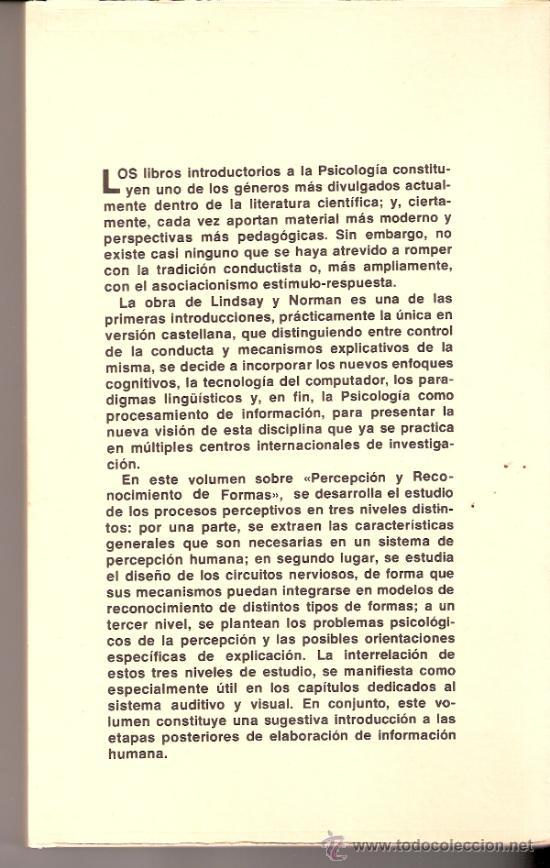 Libros de segunda mano: Procesamiento Informacion Humana. Lindsay y Norman. Percepción reconocimiento formas. Tecnos. 1976. - Foto 2 - 30819574