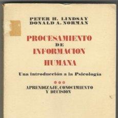 Libros de segunda mano: PROCESAMIENTO DE INFORMACION HUMANA.. Lote 37592725