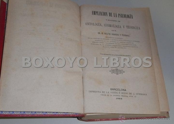 Libros de segunda mano: DONADIU Y PUIGNAU, D. Ampliación de la psicología y nociones de ontología, cosmología y teodicea - Foto 2 - 42231437