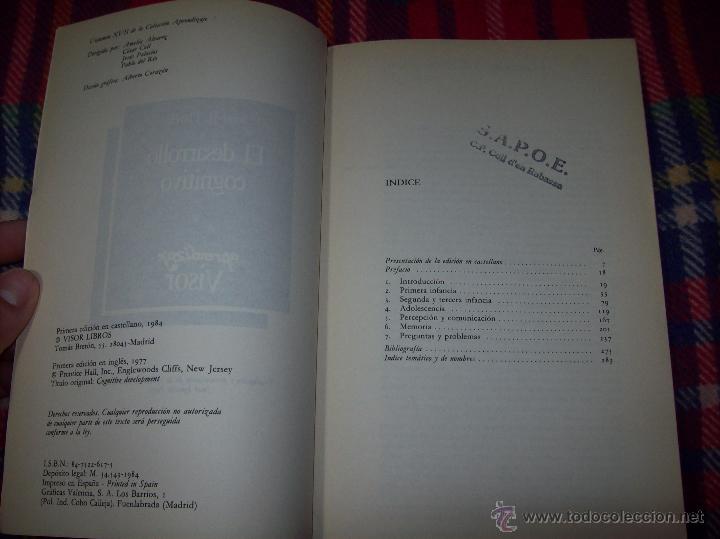 Libros de segunda mano: EL DESARROLLO COGNITIVO. JOHN H. FLAVELL.VISOR LIBROS.1ª EDICIÓN 1984.MAGNÍFICO EJEMPLAR.VER FOTOS. - Foto 11 - 43558514