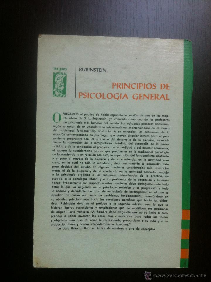Libros de segunda mano: PRINCIPIOS DE PSICOLOGIA GENERAL - S.L. RUBINSTEIN - TRATADOS Y MANUALES GRIJALBO - MEXICO - 1967 - - Foto 3 - 43797305