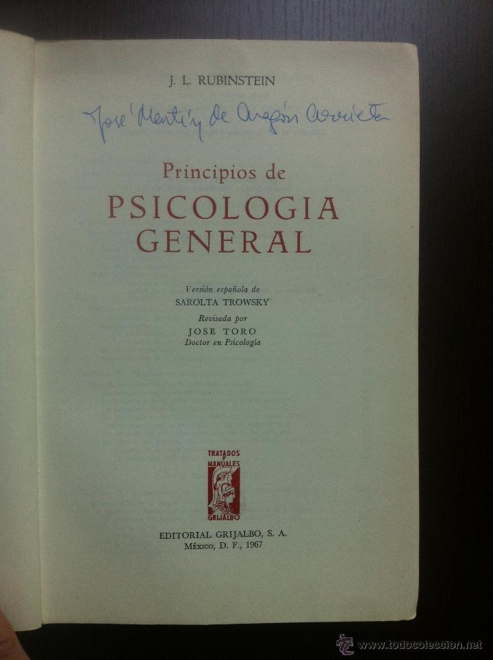 Libros de segunda mano: PRINCIPIOS DE PSICOLOGIA GENERAL - S.L. RUBINSTEIN - TRATADOS Y MANUALES GRIJALBO - MEXICO - 1967 - - Foto 4 - 43797305