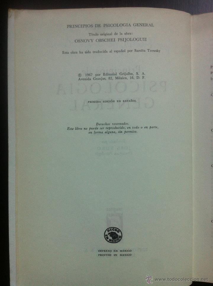 Libros de segunda mano: PRINCIPIOS DE PSICOLOGIA GENERAL - S.L. RUBINSTEIN - TRATADOS Y MANUALES GRIJALBO - MEXICO - 1967 - - Foto 5 - 43797305
