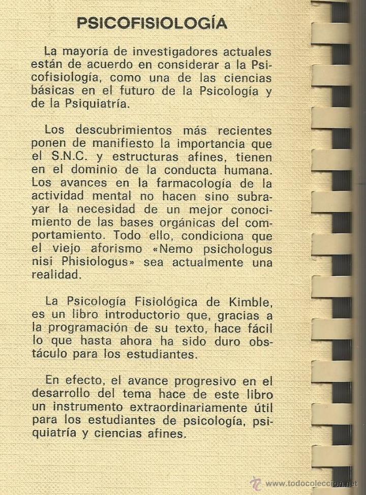 Libros de segunda mano: Psicofisiología - Daniel P. Kimble [psicología] - Foto 2 - 43812258
