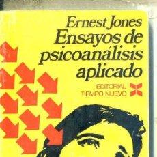 Libros de segunda mano: JONES : ENSAYOS DE PSICOANÁLISIS APLICADO (TIEMPO NUEVO, 1971) . Lote 48693229