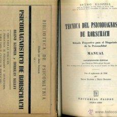 Libros de segunda mano: KLOPFER : TÉCNICA DEL PSICODIAGNÓSTICO DE RORSCHACH (PAIDÓS, 1952) . Lote 48693515