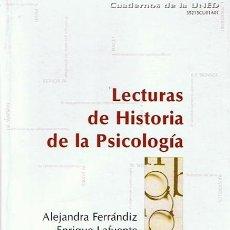 Libros de segunda mano: LECTURAS DE HISTORIA DE LA PSICOLOGÍA ALEJANDRA FERRÁNDIZ. Lote 48832744