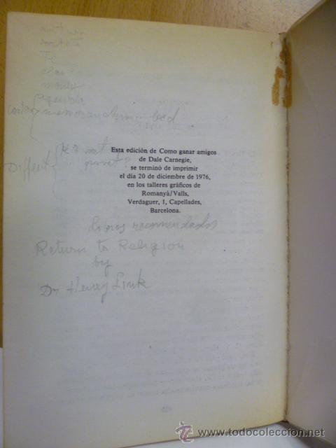 Libros de segunda mano: Cómo ganar amigos e influir sobre las personas. - CARNEGIE, Dale - 1976 - Foto 6 - 50170358
