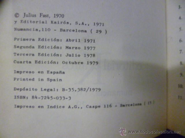 Libros de segunda mano: EL LENGUAJE DEL CUERPO. FAST, Julius. 1979 - Foto 2 - 220657503