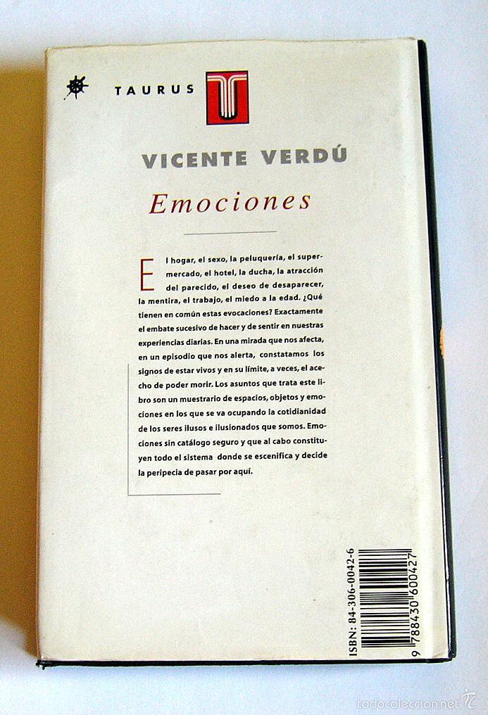 Libros de segunda mano: EMOCIONES - VICENTE VERDU - Foto 2 - 55892317