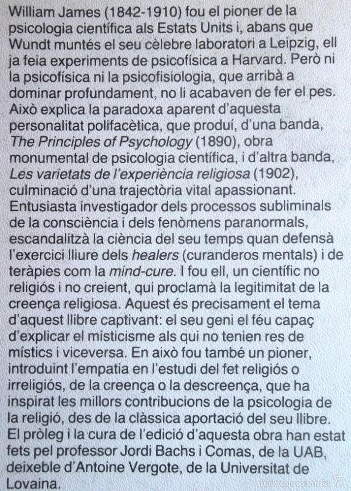 Libros de segunda mano: Les varietats de l'experiència religiosa. William James. Ed 62 Clàssics del pensament modern 25 1985 - Foto 2 - 60389635