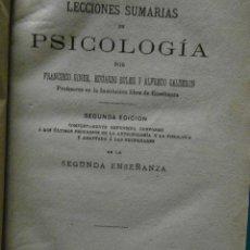 Libros de segunda mano: LECCIONES SUMARIAS DE PSICOLOGIA. FRANCISCO GINER, EDUARDO BOLER Y A. CALDERON. 2ª ED.1877. 208 P.. Lote 88337876