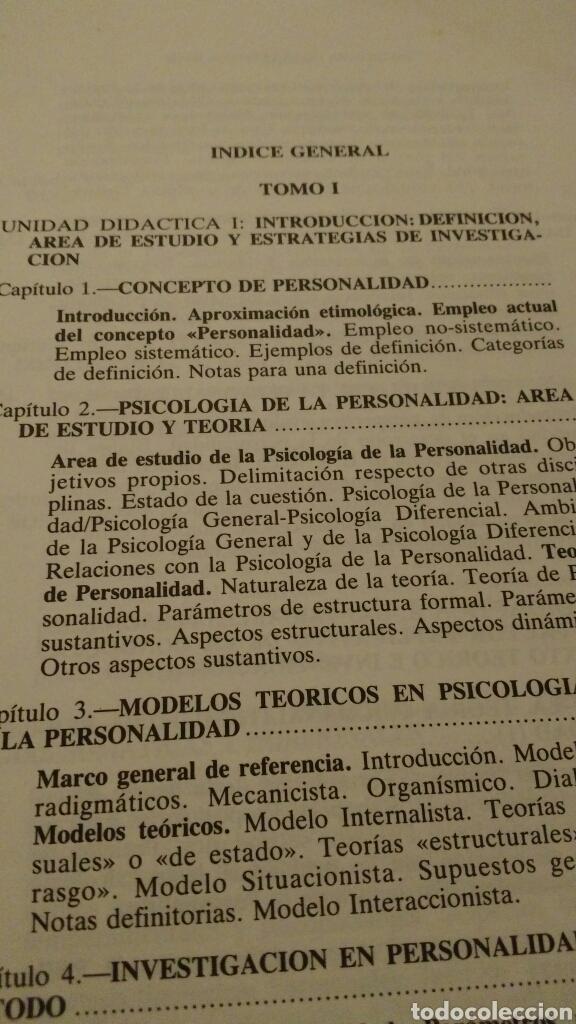 Libros de segunda mano: LIBRO: PSICOLOGÍA DE LA PERSONALIDAD - José Bermúdez Moreno - 1994 - Foto 3 - 115134975