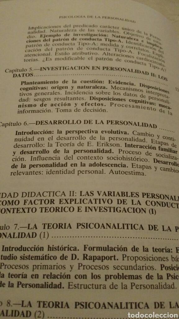 Libros de segunda mano: LIBRO: PSICOLOGÍA DE LA PERSONALIDAD - José Bermúdez Moreno - 1994 - Foto 4 - 115134975