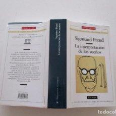 Libros de segunda mano: SIGMUND FREUD. LA INTERPRETACIÓN DE LOS SUEÑOS. RM82625. . Lote 96645699