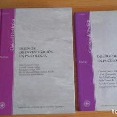 Libros de segunda mano: DISEÑOS DE INVESTIGACIÓN EN PSICOLOGÍA. UNIDAD DIDÁCTICA Y CUADERNO DE PRACTICAS. UNED. Lote 97054987