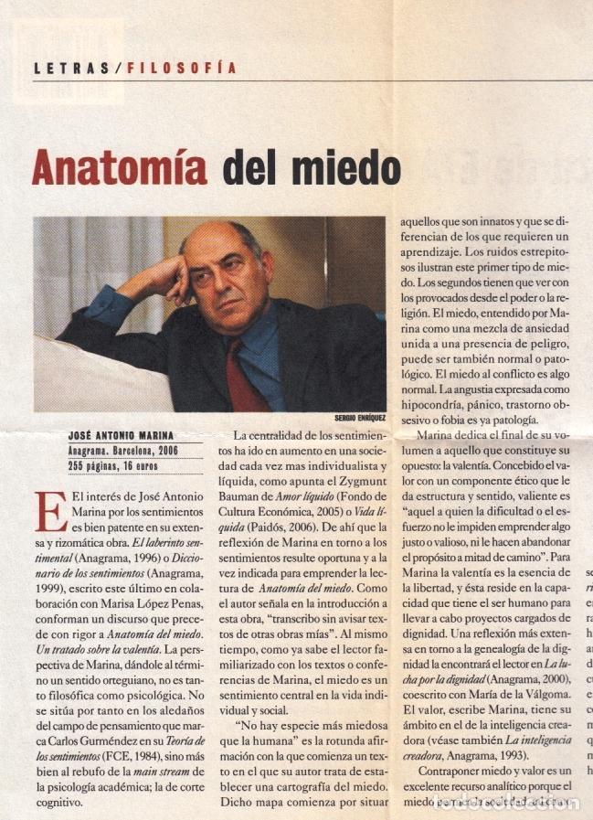 Libros de segunda mano: JOSÉ ANTONIO MARINA ANATOMÍA DEL MIEDO UN TRATADO SOBRE LA VALENTÍA ANAGRAMA 2006 1ª EDICIÓN RECORTE - Foto 6 - 97873967