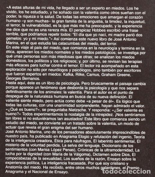 Libros de segunda mano: JOSÉ ANTONIO MARINA ANATOMÍA DEL MIEDO UN TRATADO SOBRE LA VALENTÍA ANAGRAMA 2006 1ª EDICIÓN RECORTE - Foto 7 - 97873967