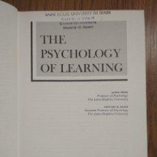 Libros de segunda mano: THE PSYCHOLOGY OF LEARNING. 3ª ED. JAMES DEESE Y STEWART H. HULSE.. Lote 103406647