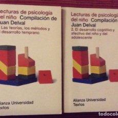 Libros de segunda mano: LECTURAS DE PSICOLOGÍA DEL NIÑO. TOMO I - II. DELVAL, JUAN. Lote 108332447