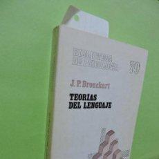 Libros de segunda mano: TEORÍAS DEL LENGUAJE. BRONCKART, J.P. COL. BIBLIOTECA DE PSICOLOGÍA, 70. ED. HERDER.. Lote 109523375