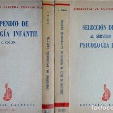 Libros de segunda mano: COMPENDIO DE PSICOLOGÍA INFANTIL. (Y) SELECCIÓN DE TEST AL SERVICIO DE LA PSICOLOGÍA INFANTIL. 1955.. Lote 112967503