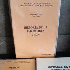 Libros de segunda mano: HISTORIA DE LA PSICOLOGIA POR EL DR. ANTONIO CAPARROS. 3 TOMOS. CIRCULO EDITOR UNIVERSO 1976. . Lote 120099663