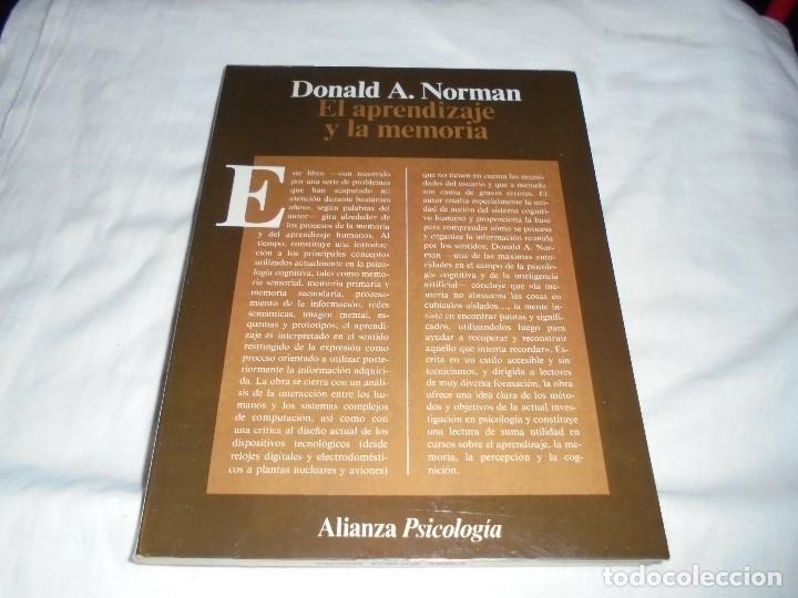 EL APRENDIZAJE Y LA MEMORIA.DONALD A.NORMAN.ALIANZA PSICOLOGIA.MADRID 1985 (Libros de Segunda Mano - Pensamiento - Psicología)