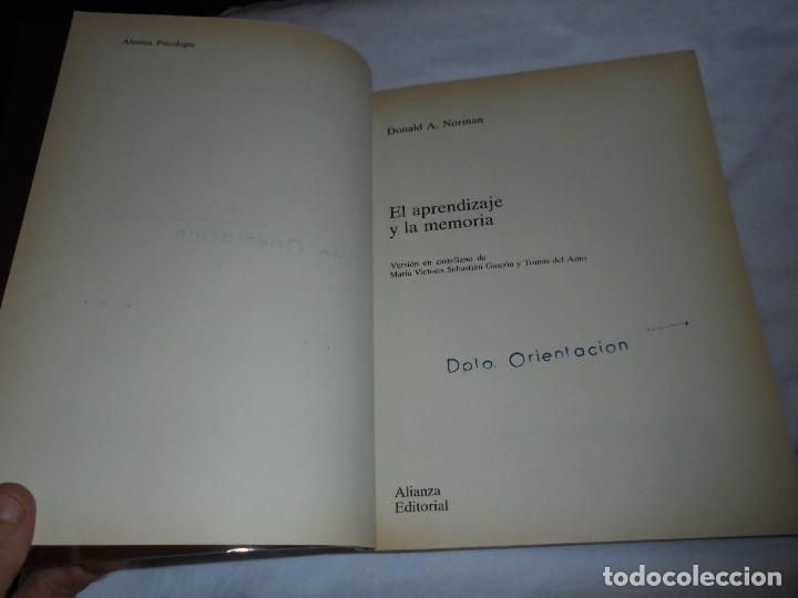 Libros de segunda mano: EL APRENDIZAJE Y LA MEMORIA.DONALD A.NORMAN.ALIANZA PSICOLOGIA.MADRID 1985 - Foto 7 - 124660287