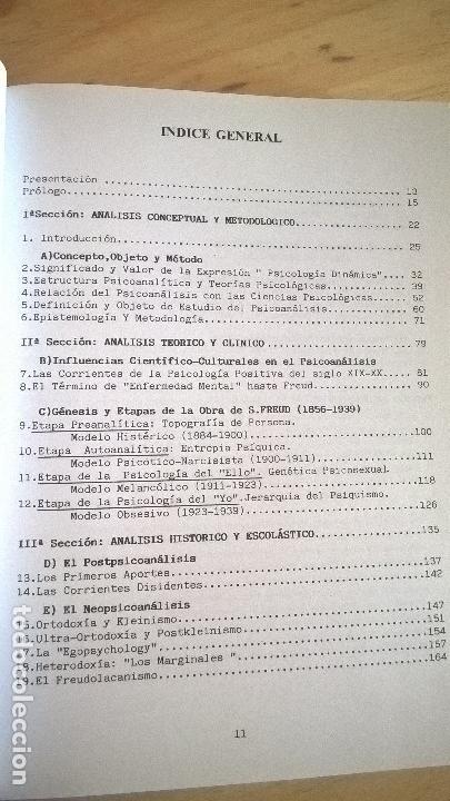 Libros de segunda mano: APUNTES DE PSICOLOGIA PSICOANALITICA ( CONCEPTO, TEORIA, HISTORIA Y TERAPIA). JOSE MARIA CID RODRIGU - Foto 5 - 125885855