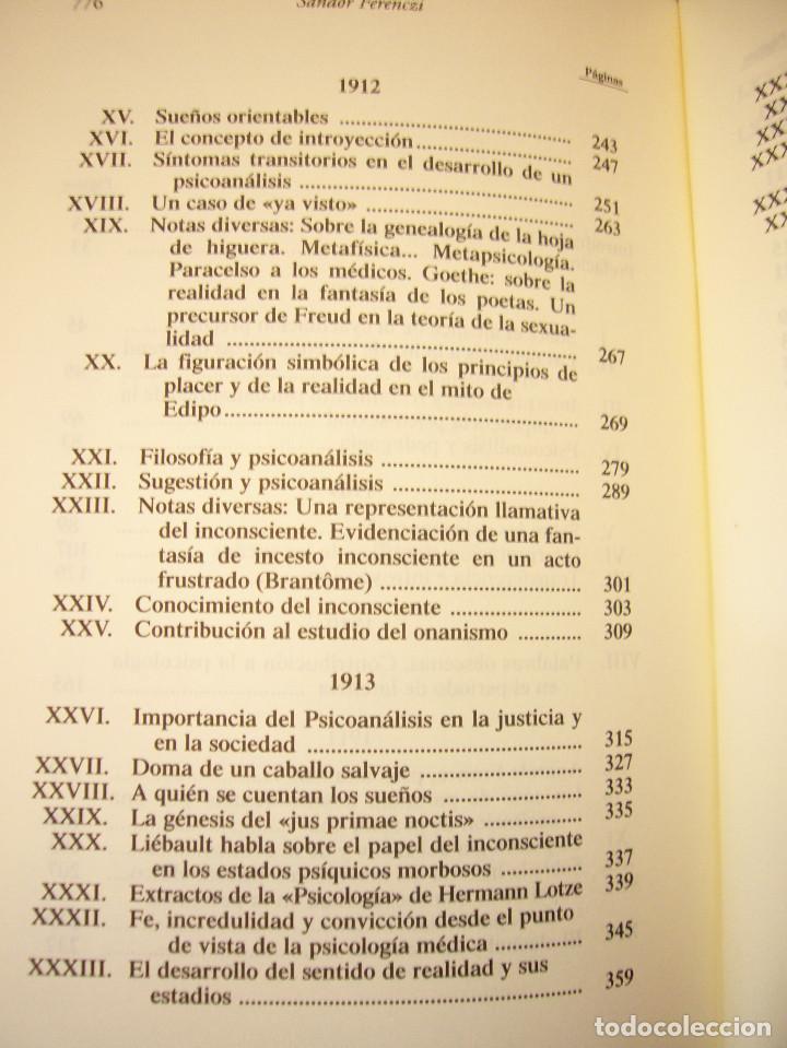 Libros de segunda mano: SÁNDOR FERENCZI: OBRAS COMPLETAS, I (RBA, BIBLIOTECA DE PSICOANÁLISIS, 2006) EXCELENTE ESTADO - Foto 5 - 131508322