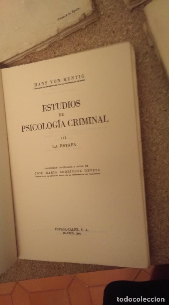 Libros de segunda mano: Hans von hentig , estudios de psocologia criminal 4 tomos - Foto 3 - 132044146