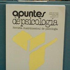 Libros de segunda mano: APUNTES DE PSICOLOGÍA. VOLUMEN 16, NUM. 1 Y 2. Lote 133577574