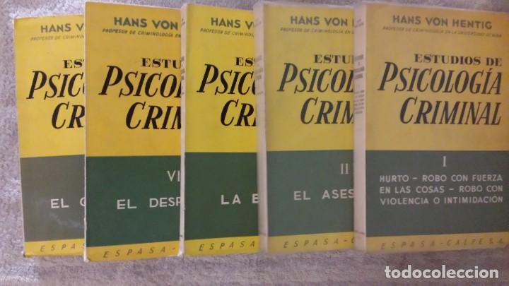 Libros de segunda mano: Estudios de psicología criminal, volúmenes I, II, III, IV, V. Hans Von Hentig.Editorial espasa-calpe - Foto 2 - 140217638