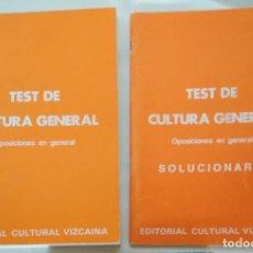 Libros de segunda mano: TEST DE CULTURA GENERAL, EDITORIAL CULTURAL VIZCAINA, 2 LIBROS, TEST + SOLUCIONARIO. Lote 142622906