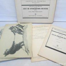 Libros de segunda mano: TEST DE APERCEPCION INFANTIL. CAT. LAMINAS, MANUAL, PROTOCOLO DE PRUEBAS. LEOPOLD BELLAK. S. SOREL B. Lote 143686862