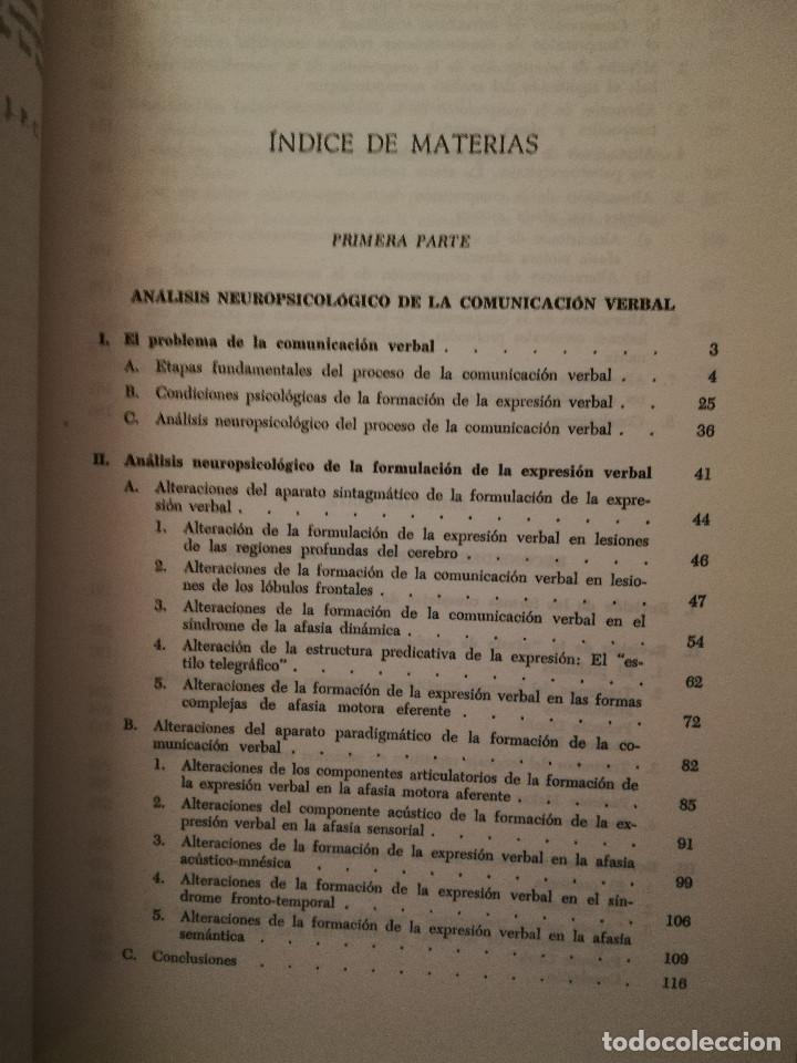 Libros de segunda mano: FUNDAMENTOS DE NEUROLINGÜÍSTICA (A. R. LURIA) TORAY - MASSON - Foto 4 - 171576777