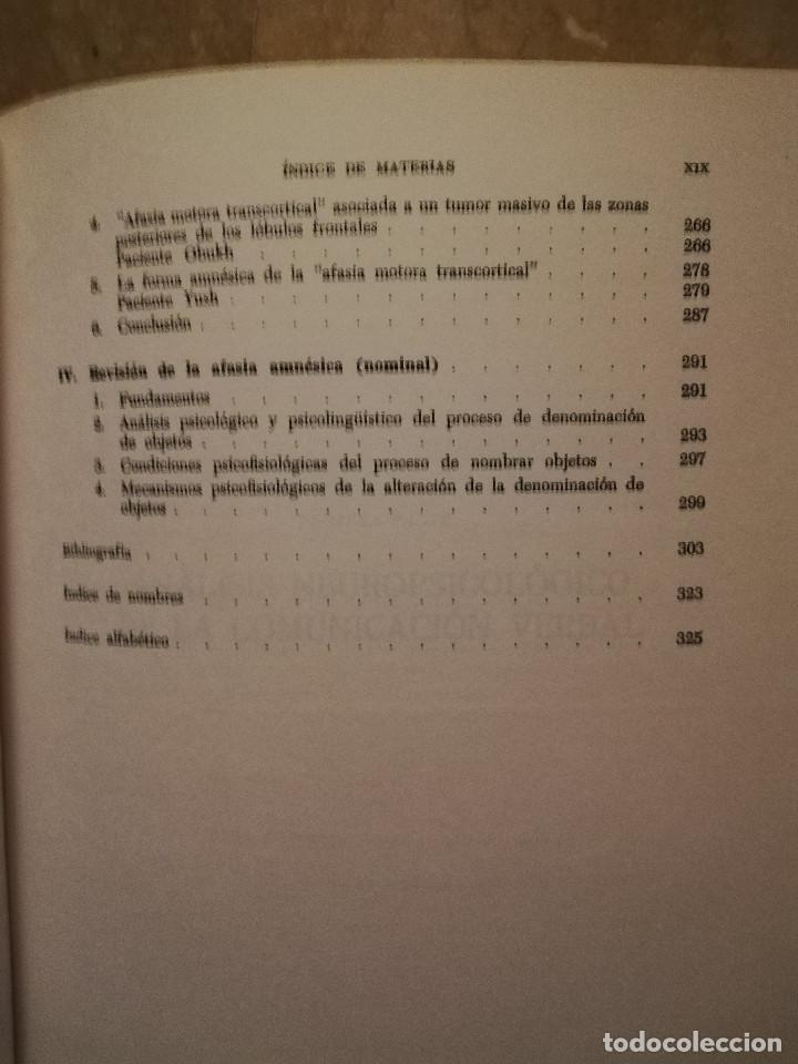 Libros de segunda mano: FUNDAMENTOS DE NEUROLINGÜÍSTICA (A. R. LURIA) TORAY - MASSON - Foto 6 - 171576777