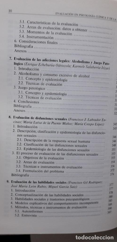 Libros de segunda mano: EVALUACION EN PSICOLOGIA CLINICA Y DE LA SALUD - ALFONSO ROA ALVARO - Foto 8 - 150123070