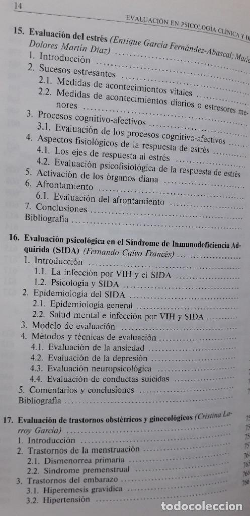 Libros de segunda mano: EVALUACION EN PSICOLOGIA CLINICA Y DE LA SALUD - ALFONSO ROA ALVARO - Foto 12 - 150123070