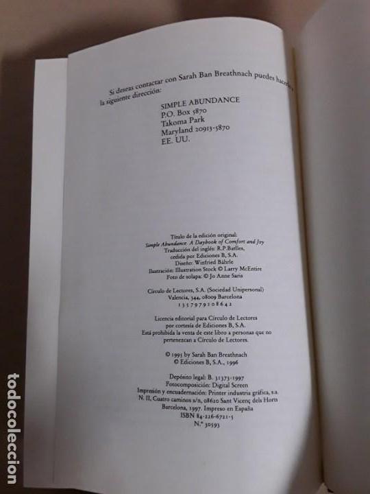 Libros de segunda mano: El encanto de la vida simple,sarah ban breathnach.circulo de lectores 1997,libro raro. - Foto 5 - 152475426