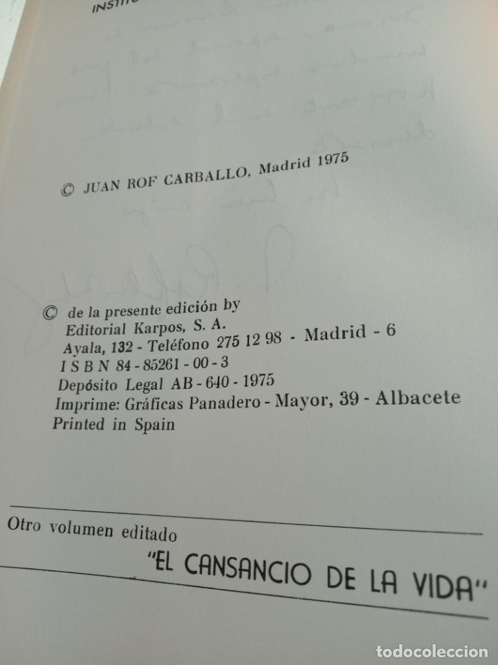 Libros de segunda mano: FRONTERAS VIVAS DEL PSICOANÁLISIS - JUAN ROF CARBALLO - FIRMADO Y DEDICADO - ED. KARPOS - MADRID - - Foto 3 - 153196874