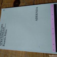Libros de segunda mano: PSICOLOGÍA DEL APRENDIZAJE. RICARDO PELLÓN.. Lote 158655857