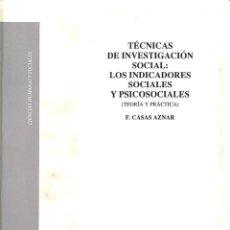 Libros de segunda mano: TÉCNICAS DE INVESTIGACIÓN SOCIAL. Lote 162735845