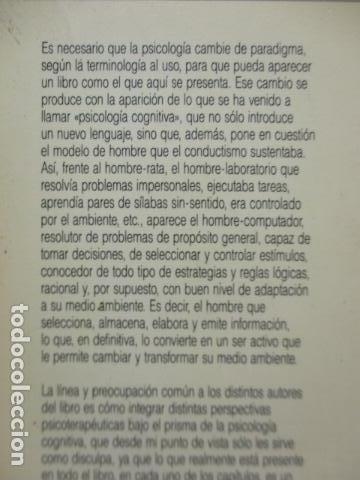 Libros de segunda mano: COGNICION Y PSICOTERAPIA. MAHONEY Michael J y FREEMAN Arthur. 1988. 1ª ed. Ediciones Paidós - Foto 23 - 163532914