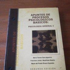 Libros de segunda mano: APUNTES DE PROCESOS PSICOLÓGICOS BÁSICOS: PSICOLOGÍA GENERAL I. . Lote 165451014