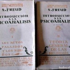 Libros de segunda mano: SIGMUND FREUD - INTRODUCCIÓN A LA PSICOANALISIS (2 VOL). Lote 165646278