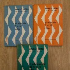 Libros de segunda mano: ARNOLD GESELL, PAIDOS. 3 TOMOS: EL NIÑO DE 1 A 5 Y DE 6 A 10 Y EL ADOLESCENTE DE 10 A 16. Lote 171741190